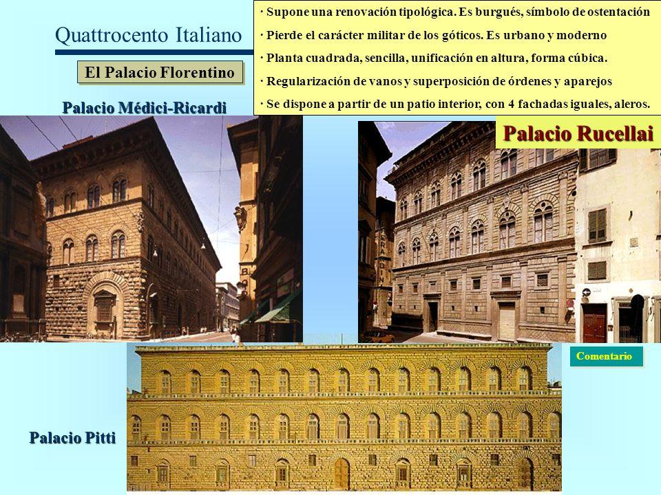 Quattrocento Italiano El Palacio Florentino · Supone una renovación tipológica. Es burgués, símbolo de ostentación · Pierde el carácter militar de los