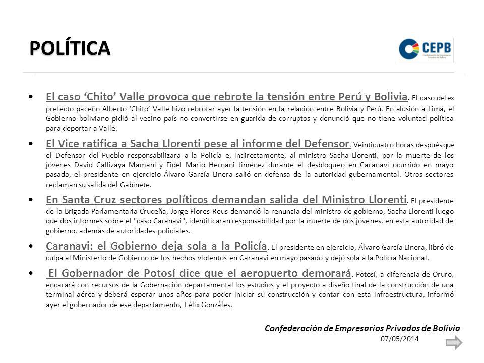 POLÍTICA El caso Chito Valle provoca que rebrote la tensión entre Perú y Bolivia. El caso del ex prefecto paceño Alberto Chito Valle hizo rebrotar aye