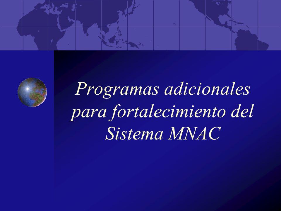 Programas adicionales para fortalecimiento del Sistema MNAC