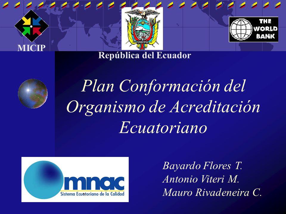 Plan Conformación del Organismo de Acreditación Ecuatoriano Bayardo Flores T. Antonio Viteri M. Mauro Rivadeneira C. MICIP República del Ecuador