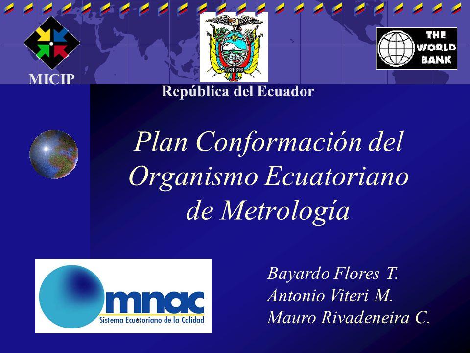 Plan Conformación del Organismo Ecuatoriano de Metrología Bayardo Flores T. Antonio Viteri M. Mauro Rivadeneira C. MICIP República del Ecuador