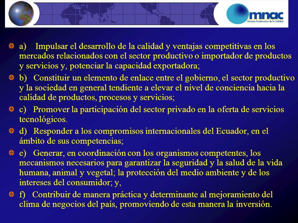 a) Impulsar el desarrollo de la calidad y ventajas competitivas en los mercados relacionados con el sector productivo o importador de productos y serv