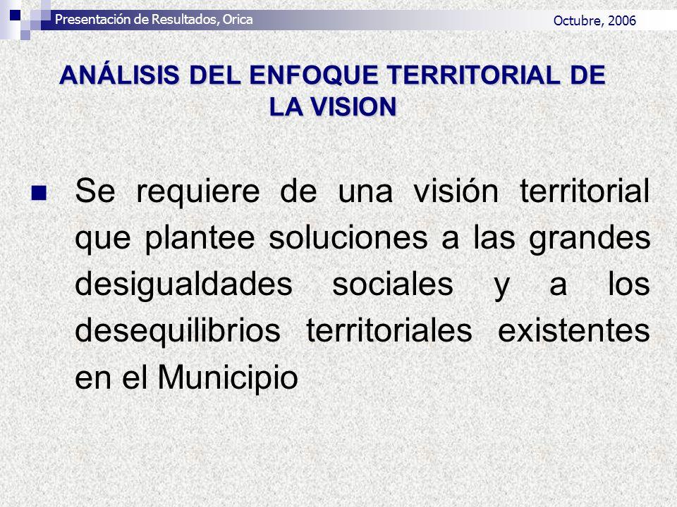 Se requiere de una visión territorial que plantee soluciones a las grandes desigualdades sociales y a los desequilibrios territoriales existentes en e