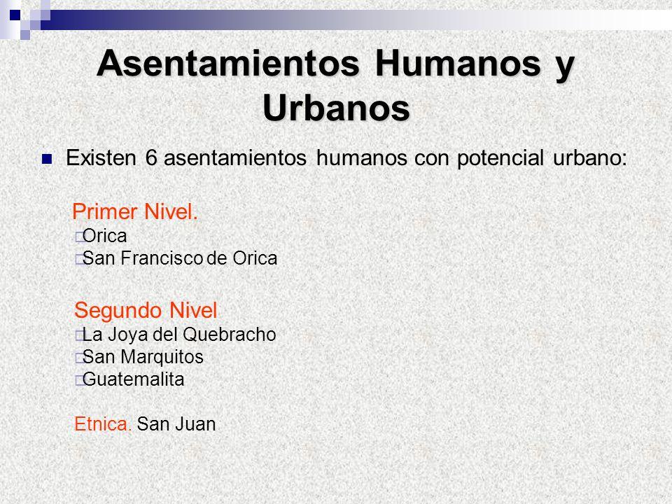 Asentamientos Humanos y Urbanos Existen 6 asentamientos humanos con potencial urbano: Primer Nivel. Orica San Francisco de Orica Segundo Nivel La Joya
