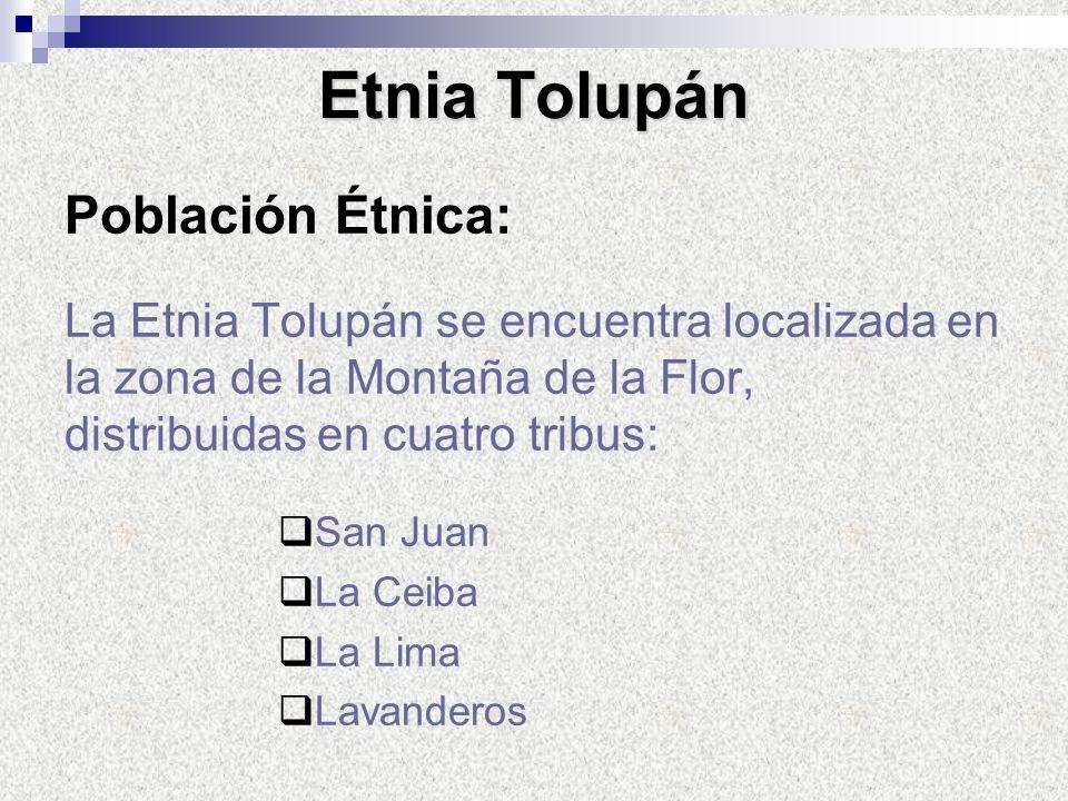 Población Étnica: La Etnia Tolupán se encuentra localizada en la zona de la Montaña de la Flor, distribuidas en cuatro tribus: San Juan La Ceiba La Li