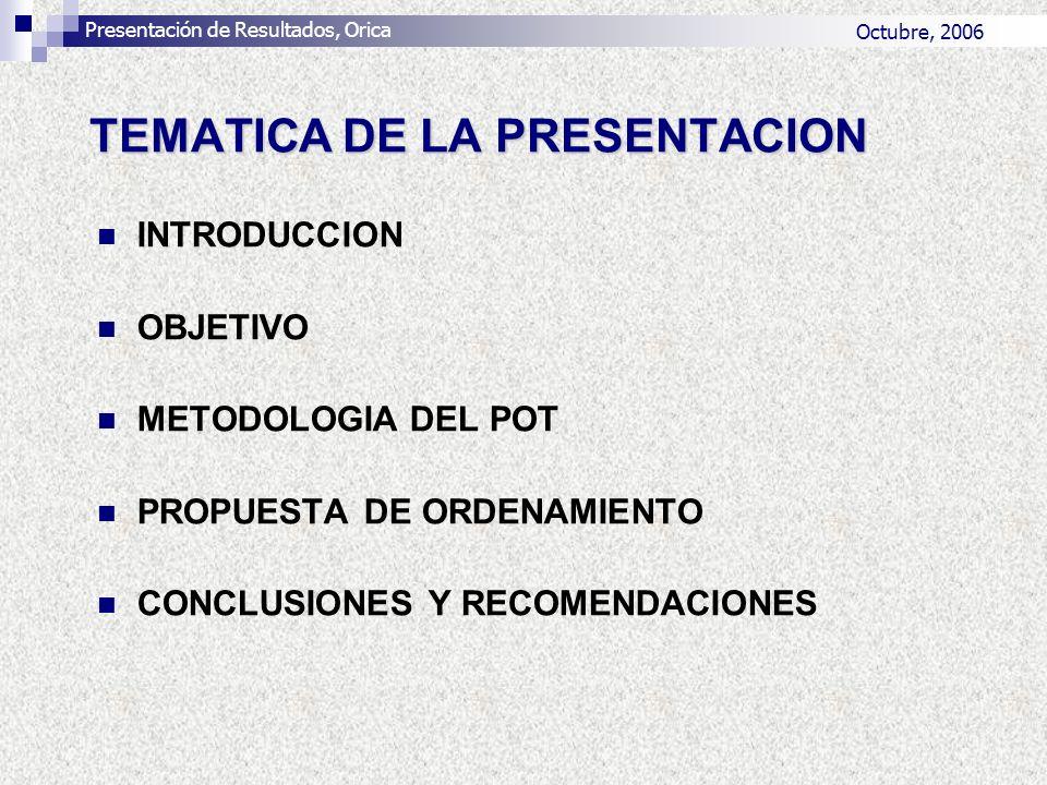 TEMATICA DE LA PRESENTACION INTRODUCCION OBJETIVO METODOLOGIA DEL POT PROPUESTA DE ORDENAMIENTO CONCLUSIONES Y RECOMENDACIONES Presentación de Resulta