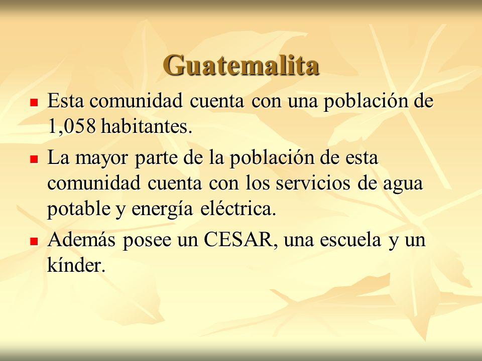 Guatemalita Esta comunidad cuenta con una población de 1,058 habitantes. Esta comunidad cuenta con una población de 1,058 habitantes. La mayor parte d