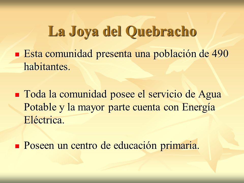 La Joya del Quebracho Esta comunidad presenta una población de 490 habitantes. Esta comunidad presenta una población de 490 habitantes. Toda la comuni