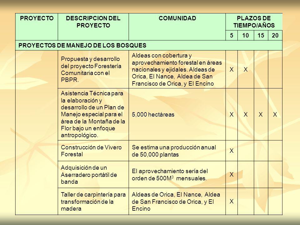 PROYECTODESCRIPCION DEL PROYECTO COMUNIDADPLAZOS DE TIEMPO/AÑOS 5101520 PROYECTOS DE MANEJO DE LOS BOSQUES Propuesta y desarrollo del proyecto Foreste