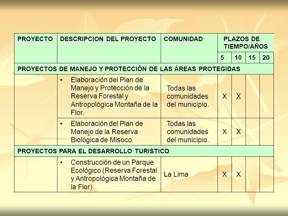 PROYECTODESCRIPCION DEL PROYECTOCOMUNIDADPLAZOS DE TIEMPO/AÑOS 5101520 PROYECTOS DE MANEJO Y PROTECCIÓN DE LAS ÁREAS PROTEGIDAS Elaboración del Plan d