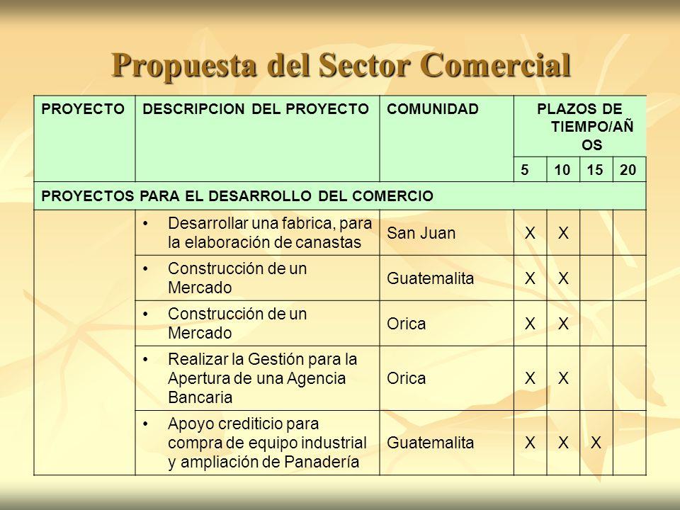 Propuesta del Sector Comercial PROYECTODESCRIPCION DEL PROYECTOCOMUNIDADPLAZOS DE TIEMPO/AÑ OS 5101520 PROYECTOS PARA EL DESARROLLO DEL COMERCIO Desar