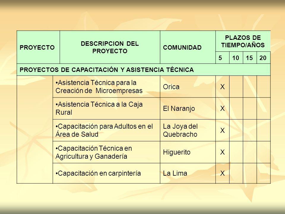 PROYECTO DESCRIPCION DEL PROYECTO COMUNIDAD PLAZOS DE TIEMPO/AÑOS 5101520 PROYECTOS DE CAPACITACIÓN Y ASISTENCIA TÉCNICA Asistencia Técnica para la Cr