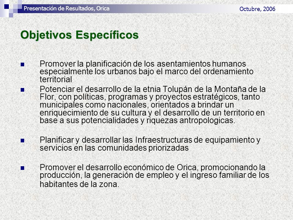 Propuesta del Sector Comercial PROYECTODESCRIPCION DEL PROYECTOCOMUNIDADPLAZOS DE TIEMPO/AÑ OS 5101520 PROYECTOS PARA EL DESARROLLO DEL COMERCIO Desarrollar una fabrica, para la elaboración de canastas San JuanXX Construcción de un Mercado GuatemalitaXX Construcción de un Mercado OricaXX Realizar la Gestión para la Apertura de una Agencia Bancaria OricaXX Apoyo crediticio para compra de equipo industrial y ampliación de Panadería GuatemalitaXXX