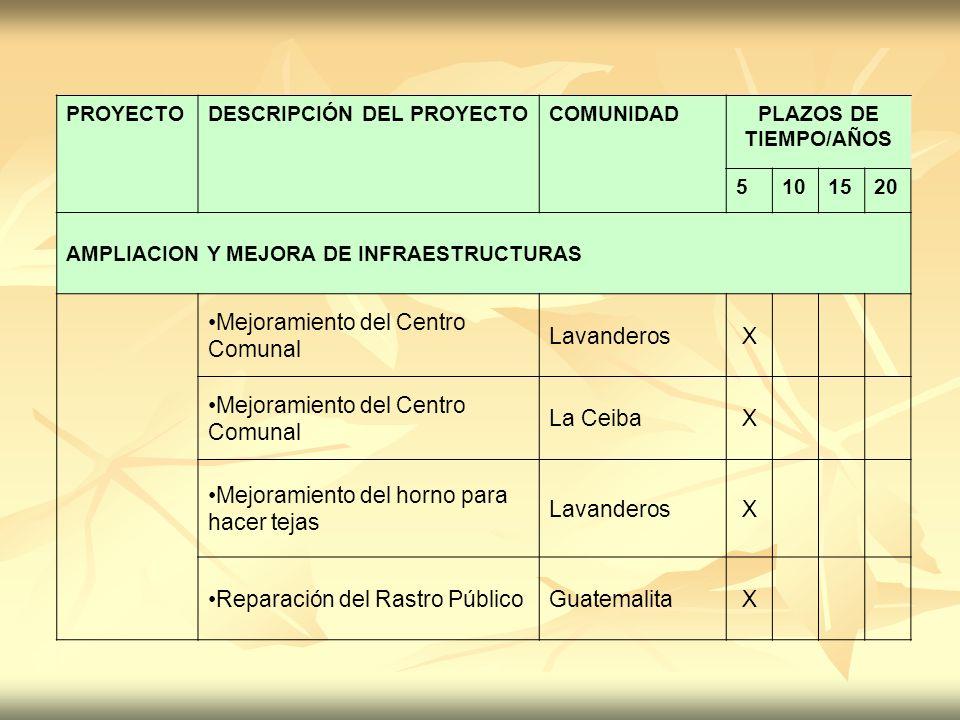 PROYECTODESCRIPCIÓN DEL PROYECTOCOMUNIDADPLAZOS DE TIEMPO/AÑOS 5101520 AMPLIACION Y MEJORA DE INFRAESTRUCTURAS Mejoramiento del Centro Comunal Lavande