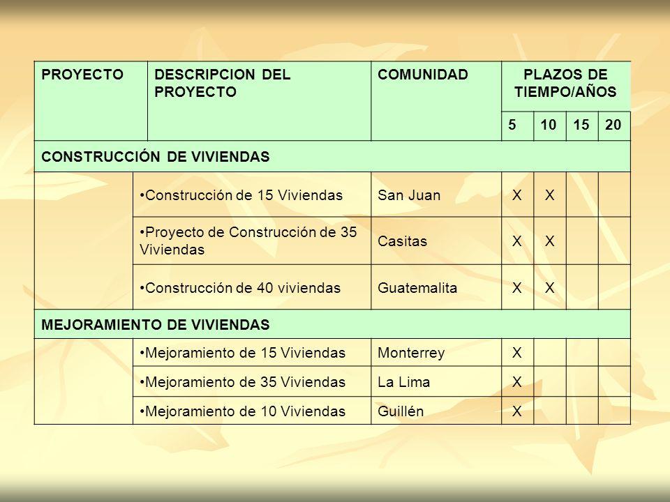 PROYECTODESCRIPCION DEL PROYECTO COMUNIDADPLAZOS DE TIEMPO/AÑOS 5101520 CONSTRUCCIÓN DE VIVIENDAS Construcción de 15 ViviendasSan JuanXX Proyecto de C