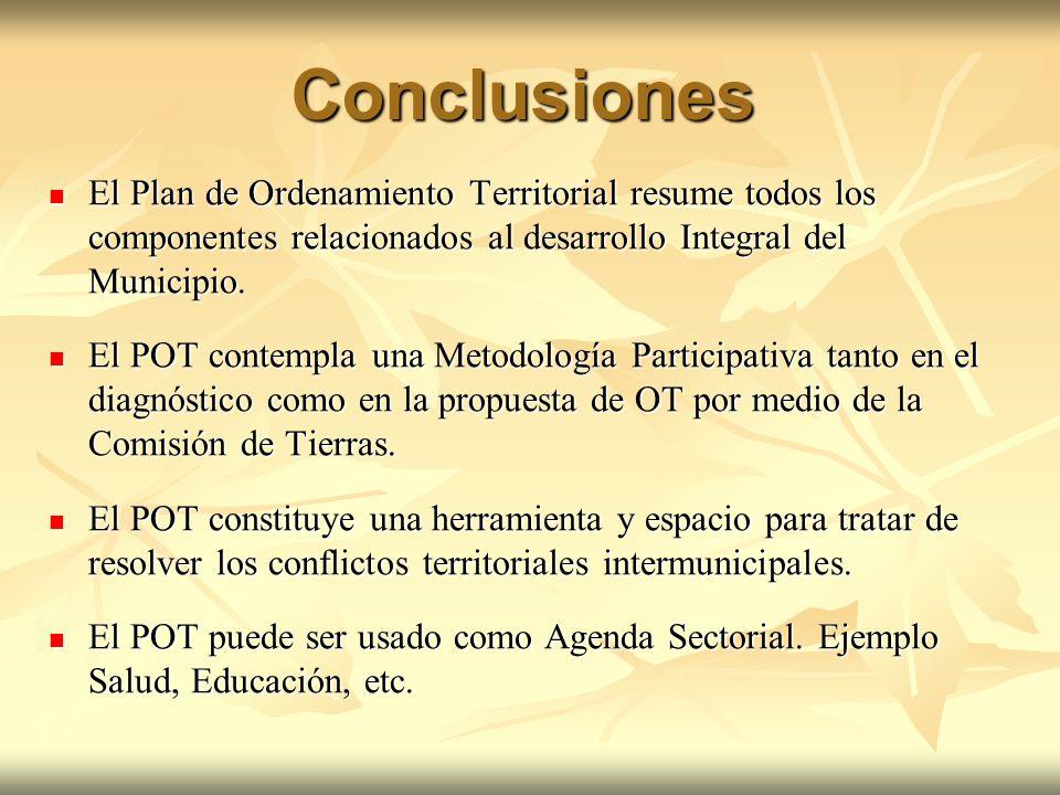 Conclusiones El Plan de Ordenamiento Territorial resume todos los componentes relacionados al desarrollo Integral del Municipio. El Plan de Ordenamien