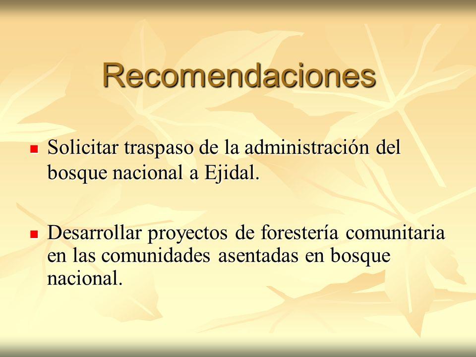 Recomendaciones Solicitar traspaso de la administración del bosque nacional a Ejidal. Solicitar traspaso de la administración del bosque nacional a Ej