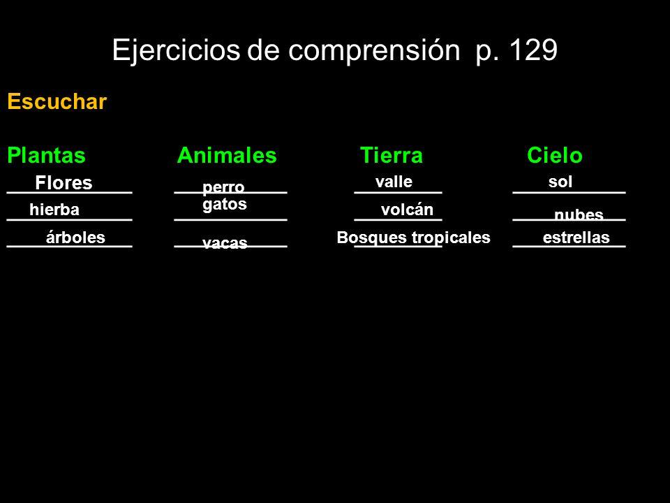 Ejercicios de comprensión p. 129 Escuchar Plantas Animales Tierra Cielo __________ _________ _______ _________ Flores perro vallesol hierba gatos volc