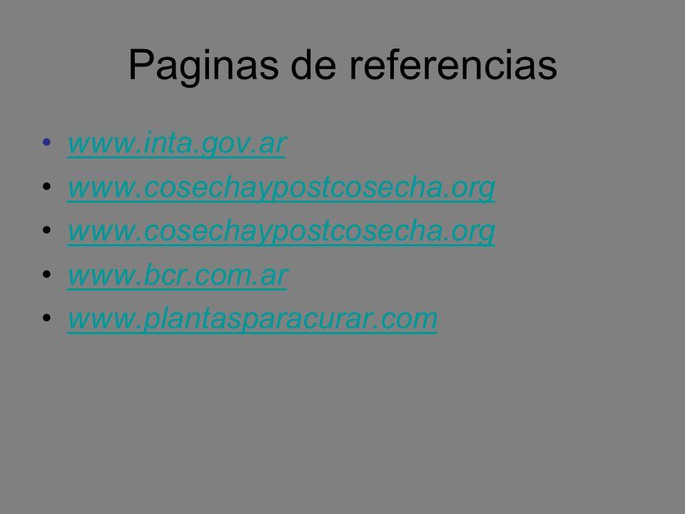 Paginas de referencias www.inta.gov.ar www.cosechaypostcosecha.org www.bcr.com.ar www.plantasparacurar.com