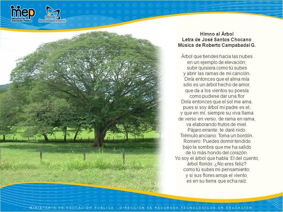 Himno al Árbol Letra de José Santos Chocano Música de Roberto Campabadal G. Árbol que tiendes hacia las nubes en un ejemplo de elevación; subir quisie