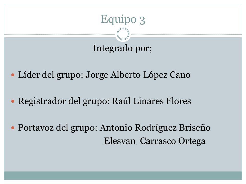 Equipo 3 Integrado por; Líder del grupo: Jorge Alberto López Cano Registrador del grupo: Raúl Linares Flores Portavoz del grupo: Antonio Rodríguez Bri