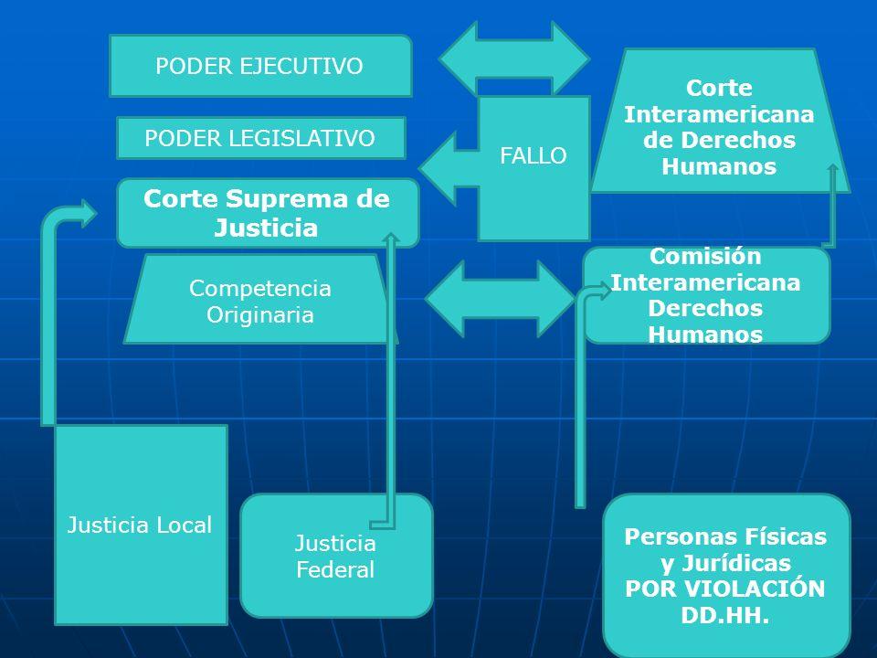 Corte Suprema de Justicia Justicia Local Justicia Federal Competencia Originaria Comisión Interamericana Derechos Humanos Personas Físicas y Jurídicas POR VIOLACIÓN DD.HH.
