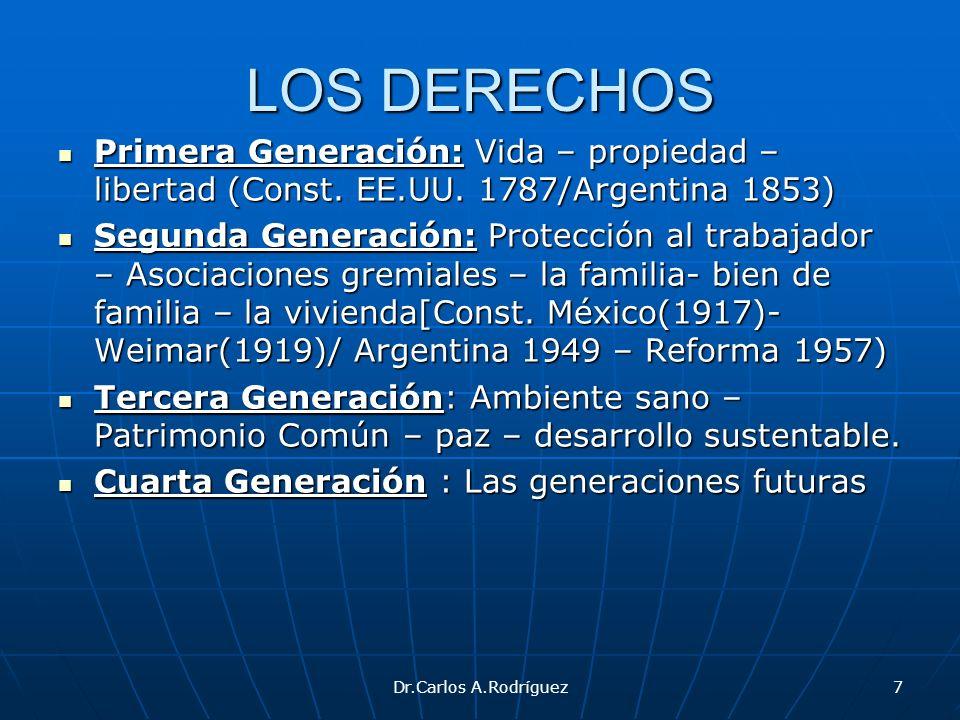 Dr.Carlos A.Rodríguez7 LOS DERECHOS Primera Generación: Vida – propiedad – libertad (Const. EE.UU. 1787/Argentina 1853) Primera Generación: Vida – pro