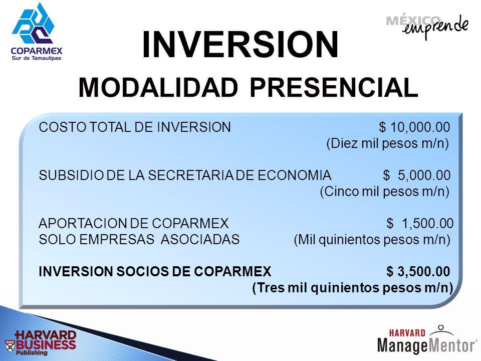 COSTO TOTAL DE INVERSION $ 10,000.00 (Diez mil pesos m/n) SUBSIDIO DE LA SECRETARIA DE ECONOMIA $ 5,000.00 (Cinco mil pesos m/n) APORTACION DE COPARME