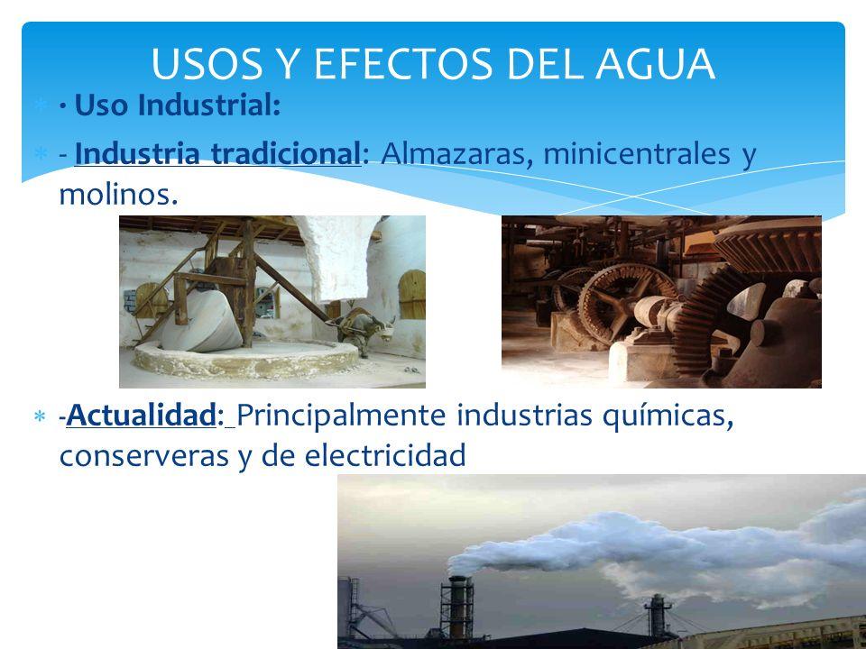 USOS Y EFECTOS DEL AGUA · Uso Industrial: - Industria tradicional: Almazaras, minicentrales y molinos. - Actualidad: Principalmente industrias química
