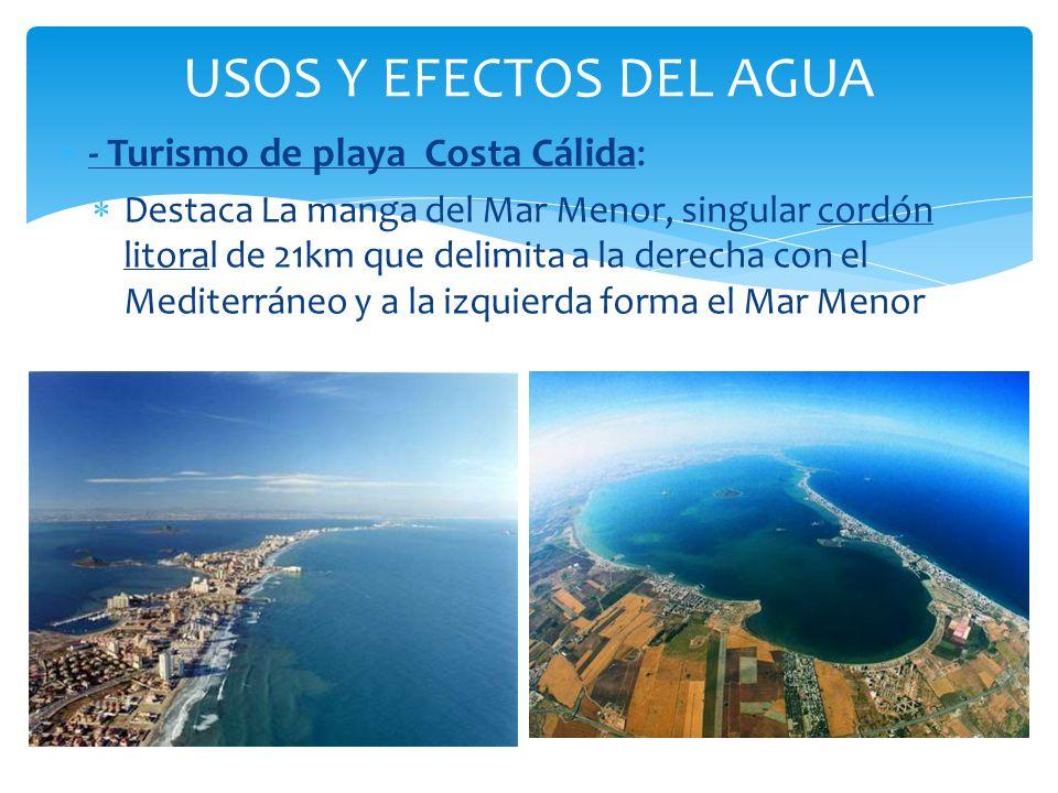 USOS Y EFECTOS DEL AGUA - Turismo de playa Costa Cálida: Destaca La manga del Mar Menor, singular cordón litoral de 21km que delimita a la derecha con