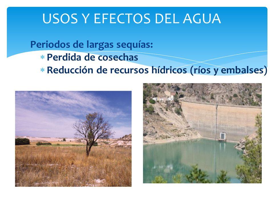 Periodos de largas sequías: Perdida de cosechas Reducción de recursos hídricos (ríos y embalses) I USOS Y EFECTOS DEL AGUA