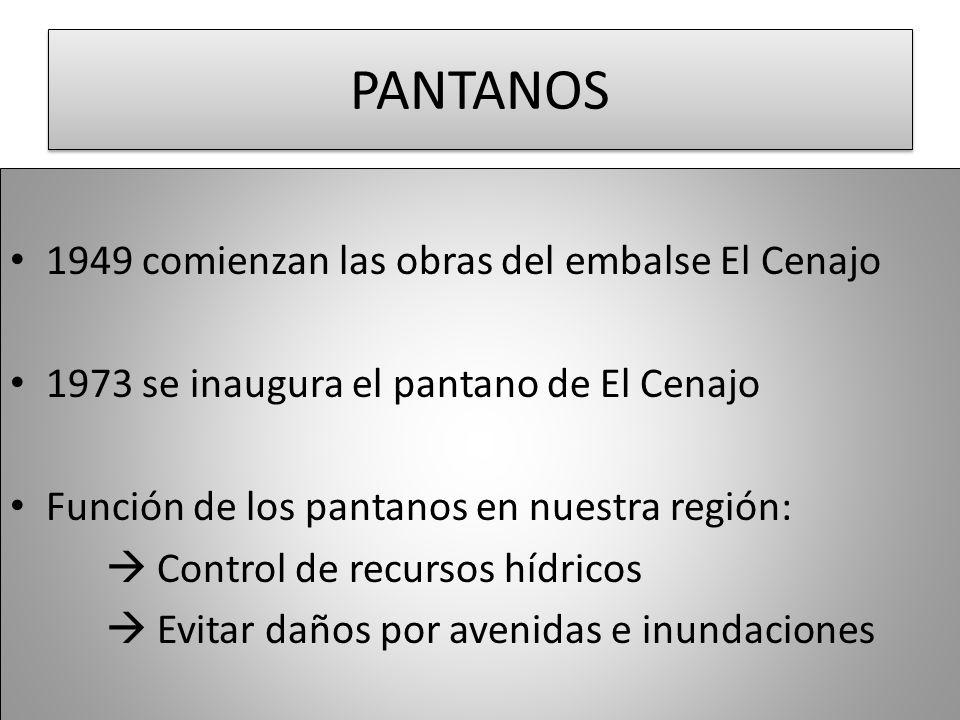 PANTANOS 1949 comienzan las obras del embalse El Cenajo 1973 se inaugura el pantano de El Cenajo Función de los pantanos en nuestra región: Control de
