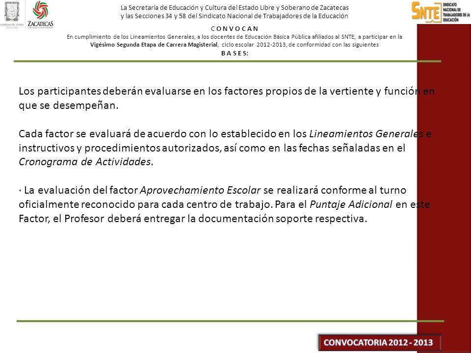 La Secretaría de Educación y Cultura del Estado Libre y Soberano de Zacatecas y las Secciones 34 y 58 del Sindicato Nacional de Trabajadores de la Educación C O N V O C A N En cumplimiento de los Lineamientos Generales, a los docentes de Educación Básica Pública afiliados al SNTE, a participar en la Vigésimo Segunda Etapa de Carrera Magisterial, ciclo escolar 2012-2013, de conformidad con las siguientes B A S E S: · En lo relativo al factor Formación Continua, la Comisión Nacional SEP-SNTE de Carrera Magisterial analizará, autorizará y dará a conocer, durante la segunda y tercera semana de noviembre, las opciones del Catálogo Nacional emitido por la SEP, que tendrán valor en esta Etapa, su impartición será gratuita.