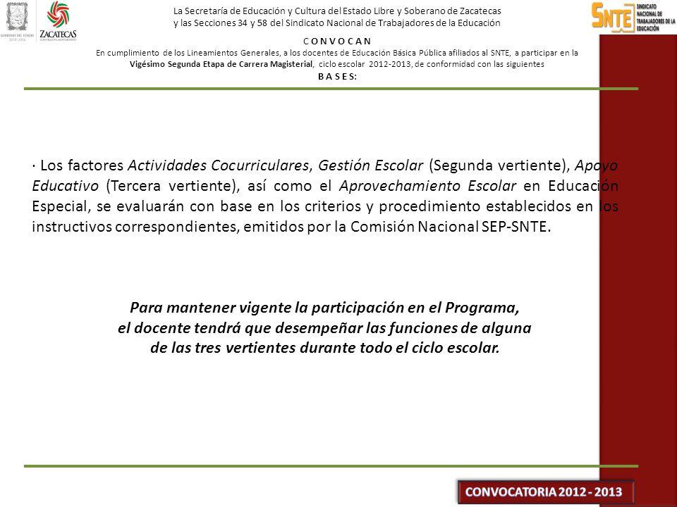 La Secretaría de Educación y Cultura del Estado Libre y Soberano de Zacatecas y las Secciones 34 y 58 del Sindicato Nacional de Trabajadores de la Educación C O N V O C A N En cumplimiento de los Lineamientos Generales, a los docentes de Educación Básica Pública afiliados al SNTE, a participar en la Vigésimo Segunda Etapa de Carrera Magisterial, ciclo escolar 2012-2013, de conformidad con las siguientes B A S E S: DE LOS RESULTADOS · Si el participante considera que algún(os) puntaje(s) asentado(s) en su constancia de resultados no corresponde(n) a su desempeño en las evaluaciones o a la documentación probatoria, deberá solicitar por escrito su revisión a la Comisión Paritaria Estatal en el periodo establecido en el Cronograma de Actividades.