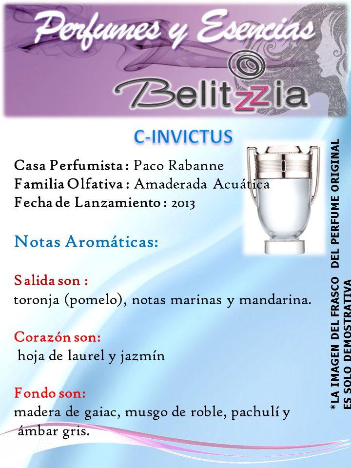 Casa Perfumista : Paco Rabanne Familia Olfativa : Amaderada Acuática Fecha de Lanzamiento : 2013 Notas Aromáticas: Salida son : toronja (pomelo), notas marinas y mandarina.