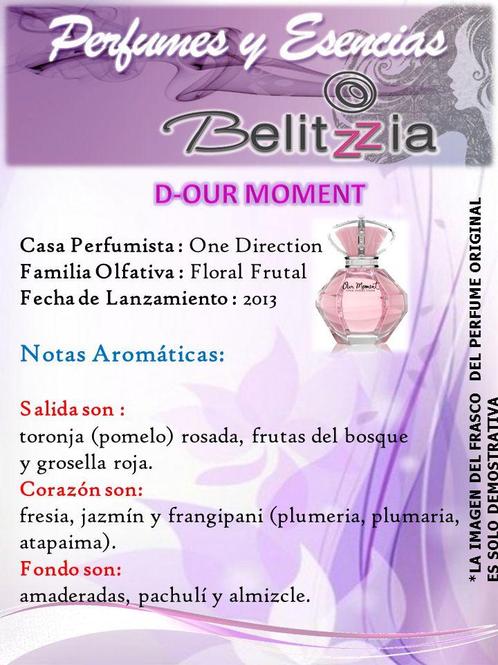 Casa Perfumista : One Direction Familia Olfativa : Floral Frutal Fecha de Lanzamiento : 2013 Notas Aromáticas: Salida son : toronja (pomelo) rosada, frutas del bosque y grosella roja.