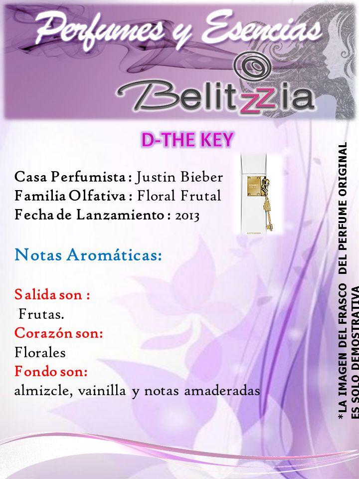 Casa Perfumista : Justin Bieber Familia Olfativa : Floral Frutal Fecha de Lanzamiento : 2013 Notas Aromáticas: Salida son : Frutas.