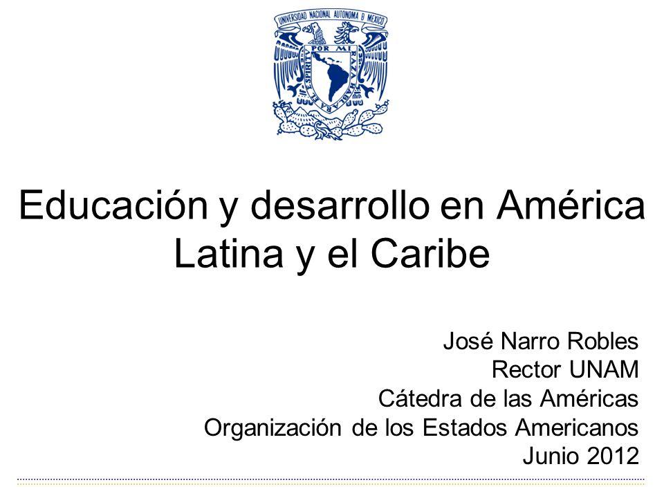 Educación y desarrollo en América Latina y el Caribe José Narro Robles Rector UNAM Cátedra de las Américas Organización de los Estados Americanos Junio 2012