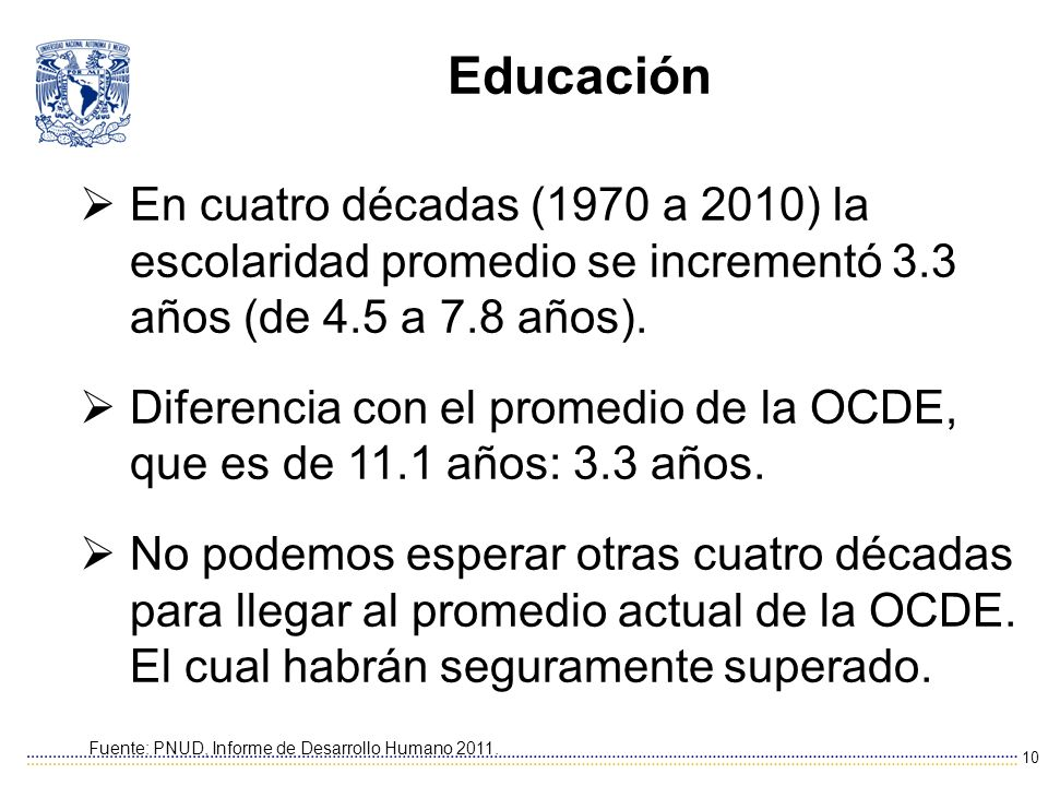 Educación En cuatro décadas (1970 a 2010) la escolaridad promedio se incrementó 3.3 años (de 4.5 a 7.8 años).