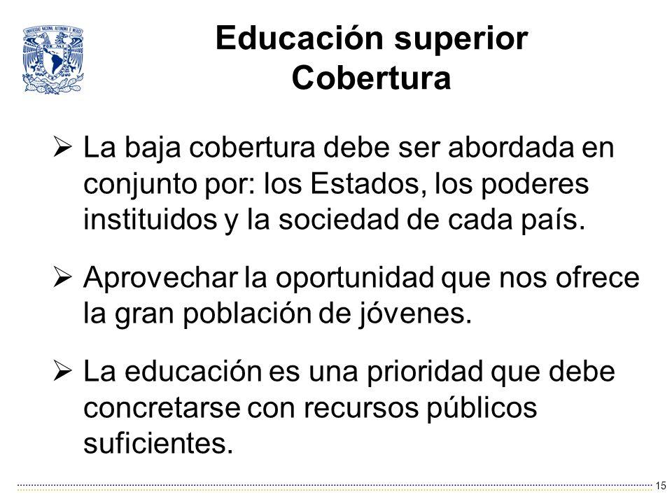 Educación superior Cobertura La baja cobertura debe ser abordada en conjunto por: los Estados, los poderes instituidos y la sociedad de cada país.