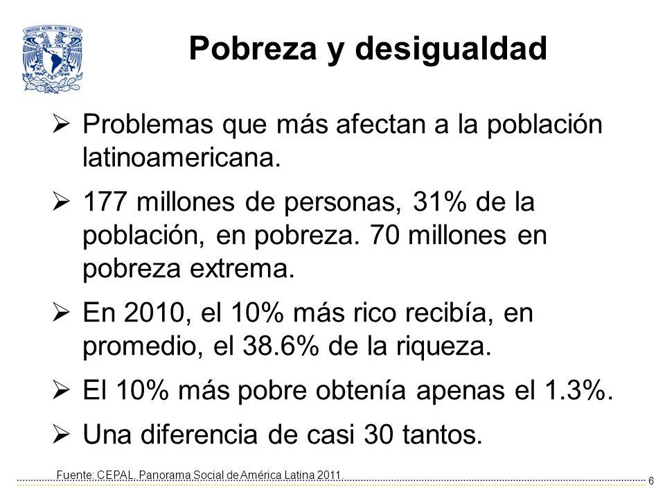 Pobreza y desigualdad Problemas que más afectan a la población latinoamericana.