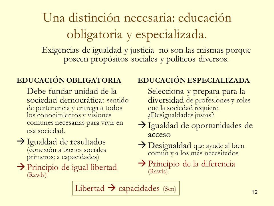 12 Una distinción necesaria: educación obligatoria y especializada. EDUCACIÓN OBLIGATORIA Debe fundar unidad de la sociedad democrática: sentido de pe