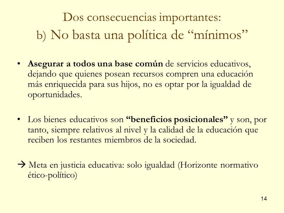 14 Dos consecuencias importantes: b) No basta una política de mínimos Asegurar a todos una base común de servicios educativos, dejando que quienes pos