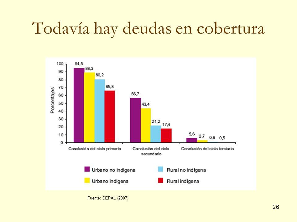 26 Todavía hay deudas en cobertura Fuente: CEPAL (2007)
