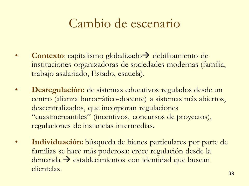 38 Cambio de escenario Contexto: capitalismo globalizado debilitamiento de instituciones organizadoras de sociedades modernas (familia, trabajo asalar
