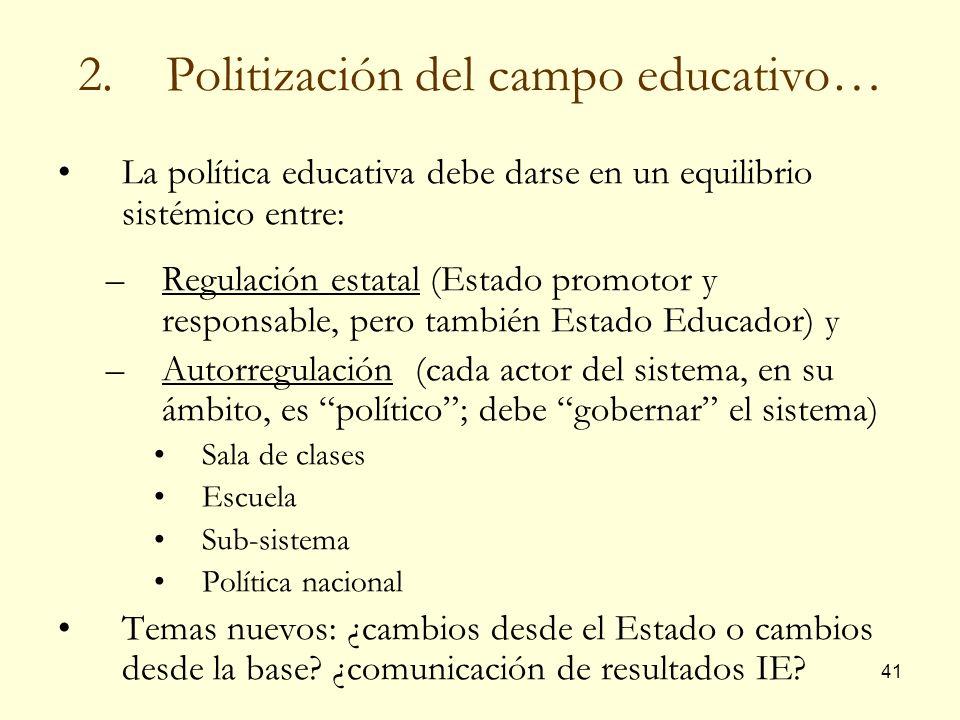 41 2.Politización del campo educativo… La política educativa debe darse en un equilibrio sistémico entre: –Regulación estatal (Estado promotor y respo