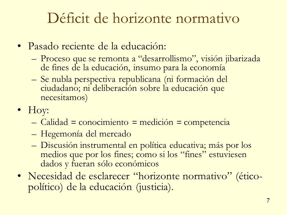 7 Déficit de horizonte normativo Pasado reciente de la educación: –Proceso que se remonta a desarrollismo, visión jibarizada de fines de la educación,