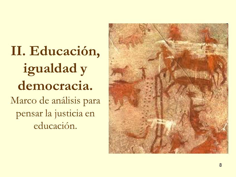 19 Democracia, mercado y derecho a educación Educación bien básico, constitu- yente de la sociedad, que no puede distribuirse a través del mercado.