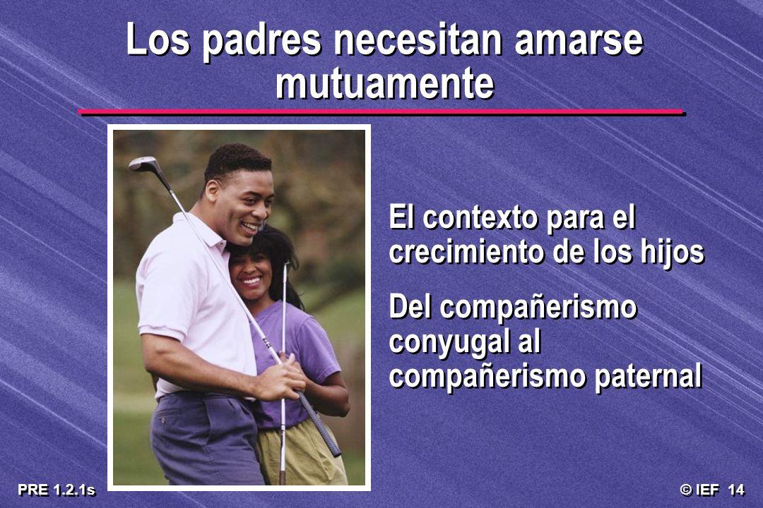 © IEF 14 PRE 1.2.1s Los padres necesitan amarse mutuamente El contexto para el crecimiento de los hijos Del compañerismo conyugal al compañerismo pate