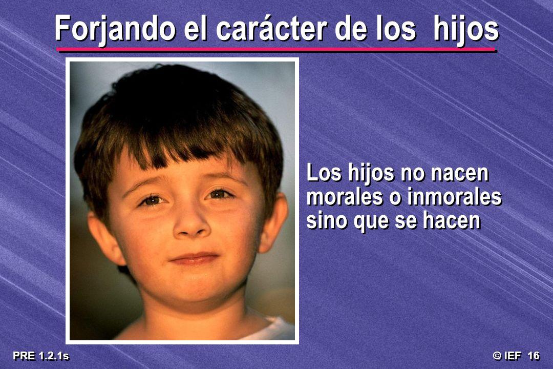 © IEF 16 PRE 1.2.1s Forjando el carácter de los hijos Los hijos no nacen morales o inmorales sino que se hacen